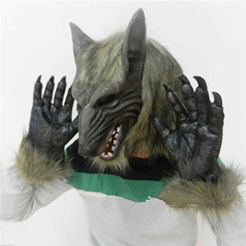 DeemoShop Latex Animal Wolf Head with Hair Mask