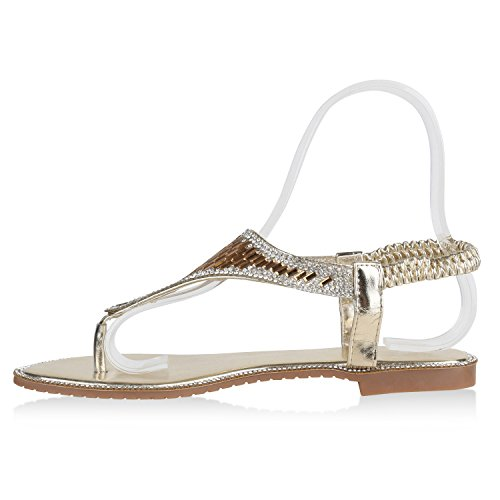 Stiefelparadies Damen Sandalen Zehentrenner mit Blockabsatz Flandell Gold Metallic
