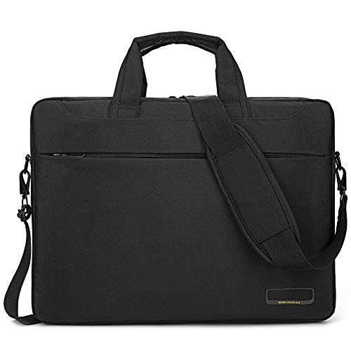 BRINCH Laptop Bag 15.6 Inch Lightweight Messenger Bag Shoulder Case Slim Business Briefcase Computer Bag Travel Carrying Sleeve Case with Shoulder and Luggage Strap for Men/Women, Black