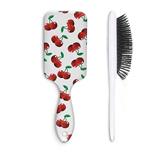 Daily Use Hair Brush Fruit Cherry Detangling Adding Shine Brushes Straightening Smoothing Hair Help Growth Bristle Hairbrush Daily Maintenance Boar Bristle Paddle Comb All Hair Types Short Hair Health -