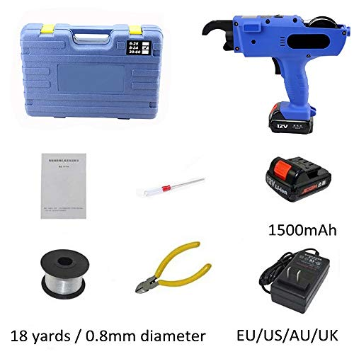 Cordless Rebar Tying Machine, Electric Rechargeable Rebar Tying Machine Tool Kit-Automatic with Lithium Battery Powered, Steel Bar Rod Tying Tools (Cordless Banding Tool)