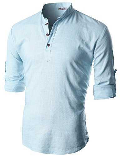 (OHOO Mens Slim Fit Summer Cool Cotton Linen Blend Long Sleeve Popover Shirt/DCC011-SKYBLUE-L )