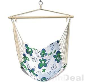 eyepower - Colgar silla cómoda xl silla flotante en color blanco con flores verdes ~ 100 x 80 cm, color blanco con flores verdes
