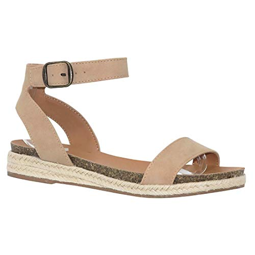 YYW Womens Comfort Flat Sandal Espadrille Ankle Strap Buckle Faux Leather Studded Open Toe Summer Slingback Platform Sandals (Beige,8 M -