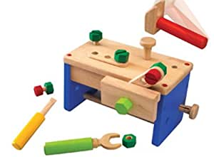 Wonderworld Work Bench 'N' Box Portable Play Carpentry Construction Toy Set + Cool Transformation, Bench to Tool Box