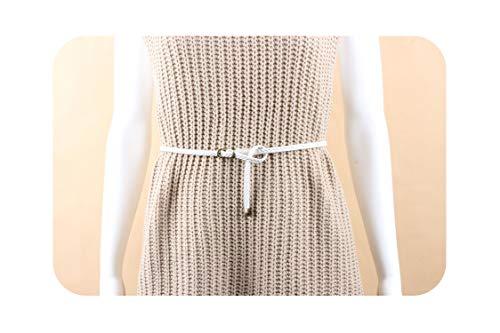 Women Hand-Knit Belt Vintage Pin Buckle Weave Leather Thin Belts Waist Strap Female Decoration Belt For Dress Jeans Waistb,White,99Cm