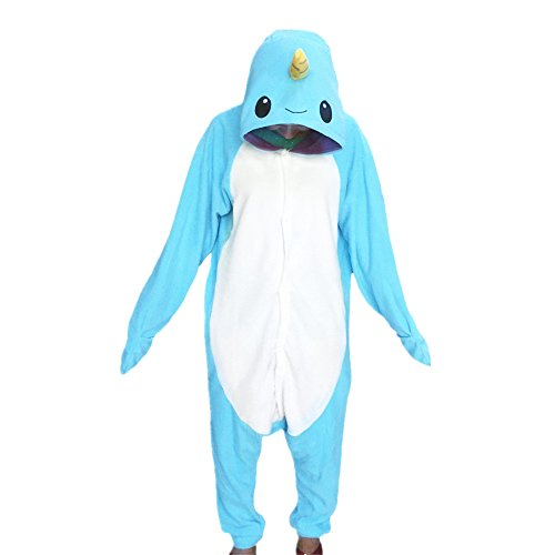 WOTOGOLD Animal Cosplay Costume Narwhal Unisex Adult Pajamas Light Blue Medium