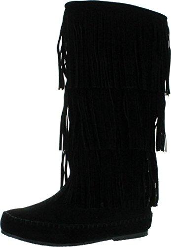 Pierre Dumas Womens Apache-4 Moccasin Fringe Boots,Black,9 ()