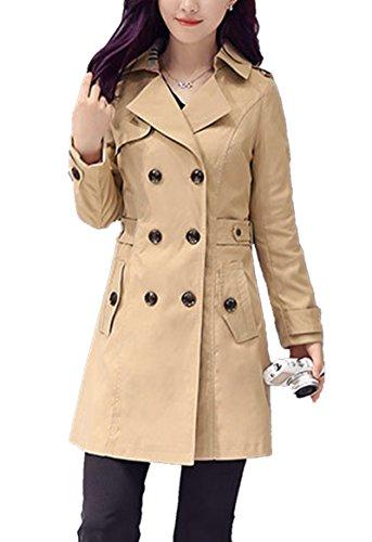 Manteau Double Pour Classique Trench Modèle 2017 Droit Léger Coat Femme D'automne Kaki La Longues Boutonnage Et Manches Veste Mince Printemps Femmes Col Blansdi 1TEIqwE
