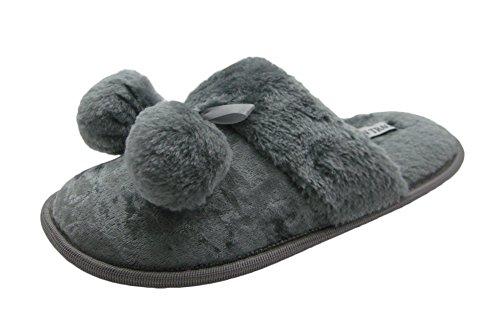 Pantofole Da Donna In Velluto Con Pompon E Polsino In Pelliccia Sintetica Grigio