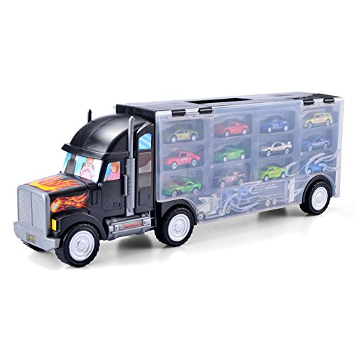 "JOYIN 22"" Heavy Duty Transport Car Carrier Truck Toy with 5 Pull Back Metal Cars, 7 Metal Race Cars and 1 ""Express Freight Truck Toy"