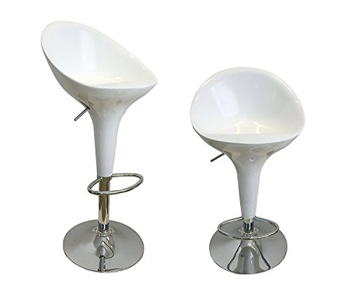 Waroom Home Barstools Set of 2, Adjustable Height Swivel Pub Bar Stools With ABS Plastic Seat And Chrome Footrest, Breakfast Kitchen Chair (White)