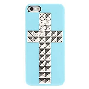 Unique Painting Special Design Silver Rivets Cross Pattern Hard Case with Nail Adhesive for iPhone 5/5S (Assorted Colors)