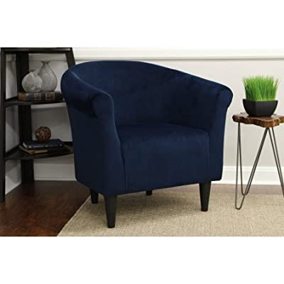 Mainstays Microfiber Bucket Accent Padded Chair (Navy Blue) - Lightweight Accent Chair; Padded Seat Microfiber Fabric Easy Assembly - Simply Screw on Legs - living-room-furniture, living-room, accent-chairs - 41yjK6vn78L. SS400  -