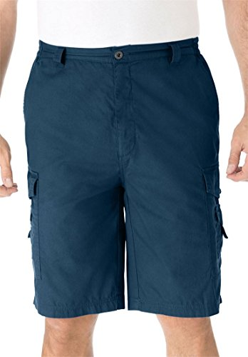 Canvas Shorts Elastic Waist (KingSize Men's Big & Tall Canyon Cargo Shorts, Navy Tall-38)