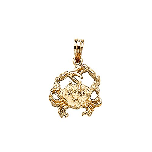 14k Yellow Gold Nautical Charm Pendant, Crab, Textured - Nautical Charm 14k Crab Gold
