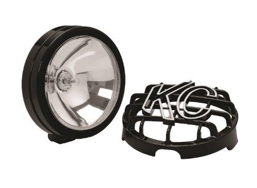Light Plus Halogen Spot Beam - KC HiLiTES 1121 SlimLite Black 130w Single Spot Beam Light with ABS Stone Guard