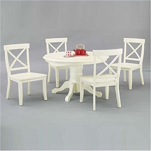 Bowery Hill 5 Piece Round Dining Set in Antique White