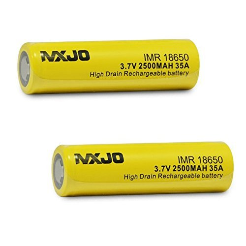 2 MXJO IMR 18650 2500mAh 35A 3.7v Rechargeable Flat Top Batteries