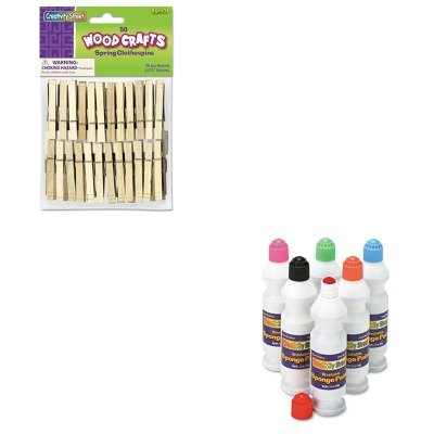 KITCKC2400CKC365801 - Value Kit - Creativity Street Wood Spring Clothespins (CKC365801) and Creativity Street Sponge Paint Set (CKC2400) Creativity Street Sponge