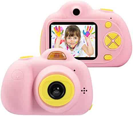 omzer Kids Camera Gifts for 4-8 Year Old Girls, Shockproof Cameras Great Gift Mini Child Camcorder for Little Girl with Soft Silicone Shell for Outdoor Play,Pink(16GB Memory Card Included)