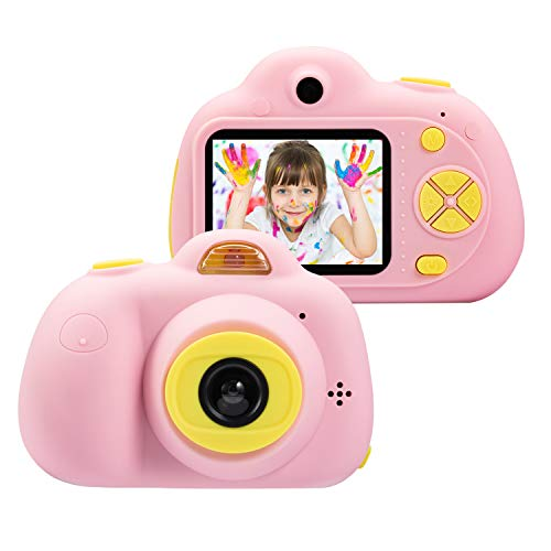 omzer Kids Camera Gifts for 4-8 Year Old Girls, Shockproof Cameras Great Gift Mini Child Camcorder for Little Girl with Soft Silicone Shell for Outdoor Play,Pink(16GB Memory Card Included) ()