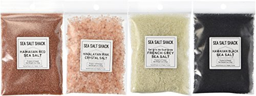 Gourmet Sea Salt (Sea Salt Shack Classic Variety 4 Pack | Himalayan Pink Crystal Salt, French Grey Sea Salt, Red Alaea Hawaiian Sea Salt, Black Lava Hawaiian Sea Salt (2oz Each))