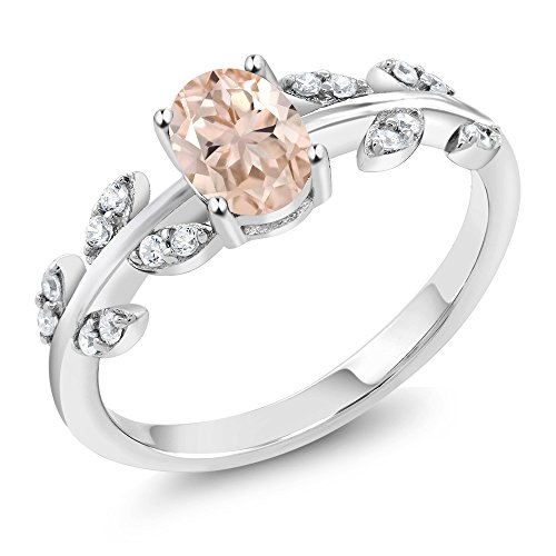 - 925 Sterling Silver Peach Morganite Olive Vine Women's Ring 0.86 Ctw Oval (Size 7)