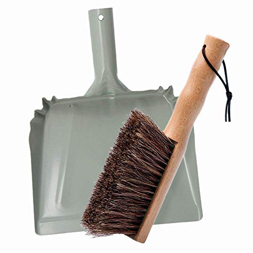 Huibot Metal Dust Pan and Brush Set Soft Bristle Wooden Broom Heavy Duty Pan Portable Size