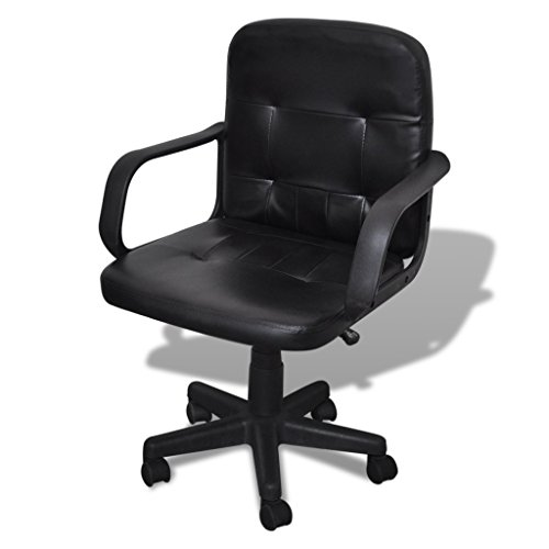 Ubaymax Leather Office Chair, Height Adjustable, 360° Swivel, Black, Mid-back, Luxury, Suitable for Office or Formal Occasions, Essential Household Furniture