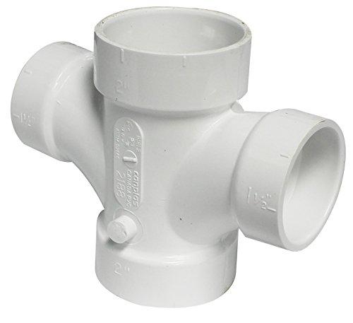 (Canplas 192188 PVC DWV Double Sanitary Tee, 2 x 1-1/2-Inch, White)
