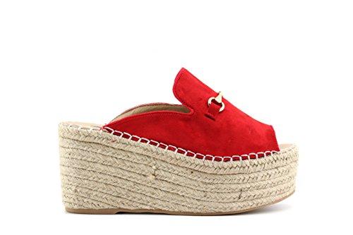 Modelisa - Sandalias Cuña Mujer Rojo