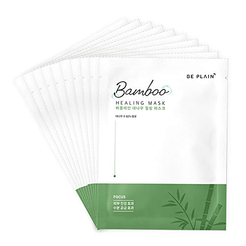 BE PLAIN Bamboo Healing Mask Set of 10 Facial masks - Facial Mask Sheets Korean Hydrating & Calming Face Masks Best Korean Skin Care for Acne Prone Sensitive Skin All-in-one Ingredients from Bamboo