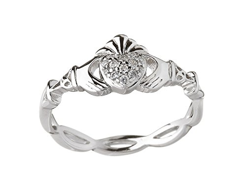 Irish Claddagh Ring Silver Weave Pave CZ Made in Ireland 6