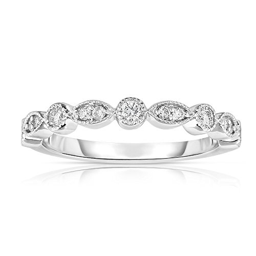 Noray Designs 14K White Gold Diamond (1/4 Ct, G H Color, SI2 I1 Clarity) Stackable Milligrain Ring