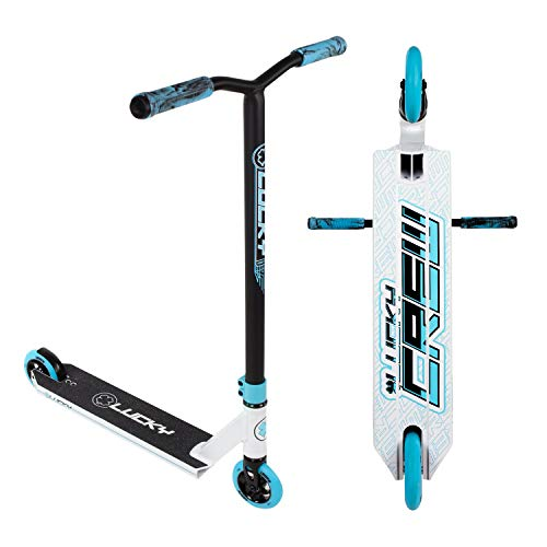 Lucky Crew Pro Stunt Scooter, White/Blue