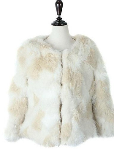 Faux Fur Casual Tops White Neck Long Thick Street Winter Sleeve YRF Solid chic Coat Women's Daily Fur M Round qpTS6