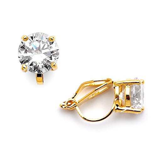 [Mariell 14KT Gold-Plated 2 Carat CZ Clip-On Earrings - 8mm Round-Cut Solitaire Cubic Zirconia Studs] (Diamond Clip Earrings)