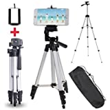 SWAPKART 3110 Foldable Camera Tripod with Mobile Clip Holder Bracket, Fully Flexible Mount Cum Tripod, Stand with 3D Head & Quick Release Plate (Black)