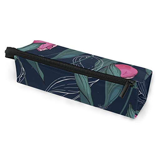 Pen Holder/Stationery Cosmetic Makeup Bag Pouch Round Case Tulip Pink Floral Hand Drawn Romatic Minimalist Print Polyester Zipper Pencil Bag Multi-Function Glasses Storage Bag