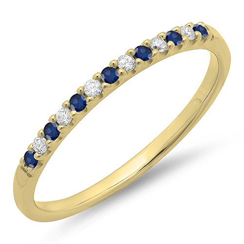 Dazzlingrock Collection 14K Round Blue Sapphire & White Diamond Anniversary Wedding Band Stackable Ring, Yellow Gold, Size 7