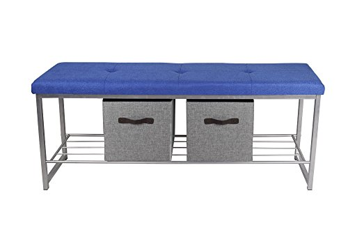 Office Bench Metal - GIA B06-BLU-LGR Bench with 2-Light Storage Cube, Blue Fabric Gray