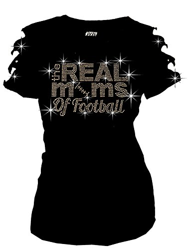 Real Moms Of Football Bling Rhinestones T-Shirt Ripped Cut Out Short (Medium)