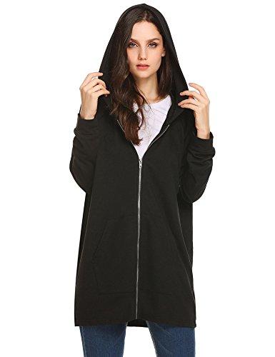 l Zip up Hoodies Pockets Tunic Sweatshirt Long Hoodie Outerwear Jacket Plus Size Black Large ()