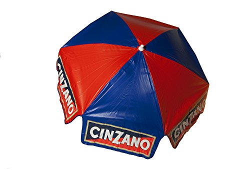Heininger 1380 Cinzano Red and Blue 6' Bar Height Pole Vinyl Umbrella