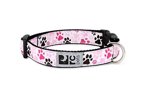 RC Pets 1 Inch Adjustable Dog Clip Collar, Medium, Pitter Patter Pink