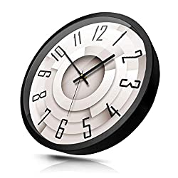 Home Wall Clock Creative Three-Dimensional Spiral Wall Clock Modern Minimalist Silent Metal Frame Quartz Clock Wall Clock Mute (Color : Black, Size : 12 inches)