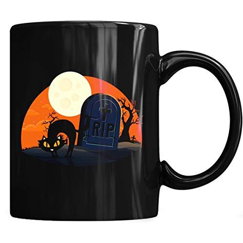 (Halloween Cat RIP Tombstone Mug - Cat Halloween Coffee Mug 11oz Gift Black Tea)