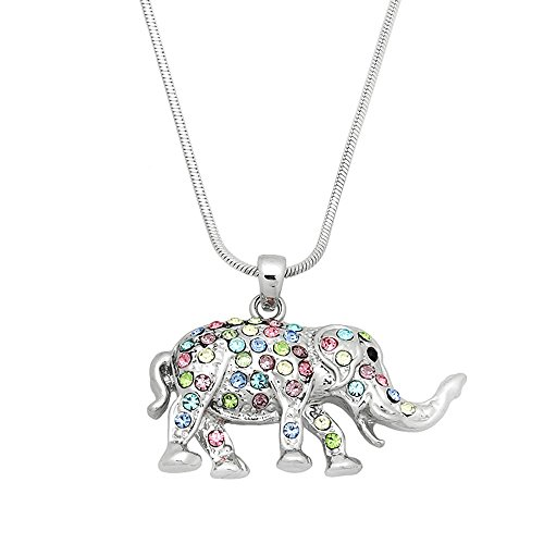 Lola Bella Gifts Pastel Crystal Elephant Pendant Necklace with Gift ()