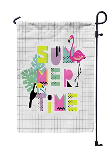 Musesh 12x18 Halloween Garden Flag,Summer Time Drawn Font Flamingo Toucan Monstera Leaf Design Shirts Prints Cards Posters Poster 80S 90S Style for Home Outdoor Decorative with Double-Sided Printing -